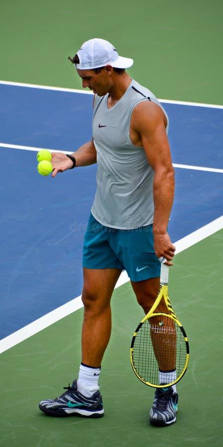 Rafael `Rafa` Nadal. MONTREAL QUEBEC CANADA 08 06 2019:  is a Rafael `Rafa` Nadal Parera Spanish professional tennis player, currently ranked world No. 2 in men` royalty free stock photos