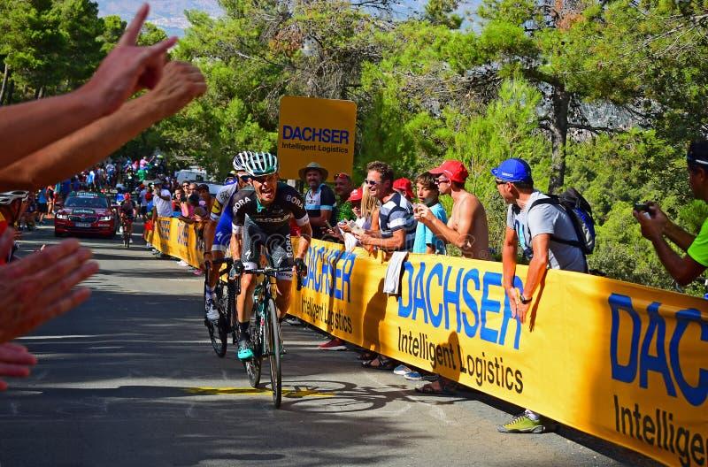 Rafal Mijka La Vuelta España Cycle Race. Rafal Majka, Bora Hansgrove nears the mountain top finish in the 2017 La Vuelta espana bike race royalty free stock photos