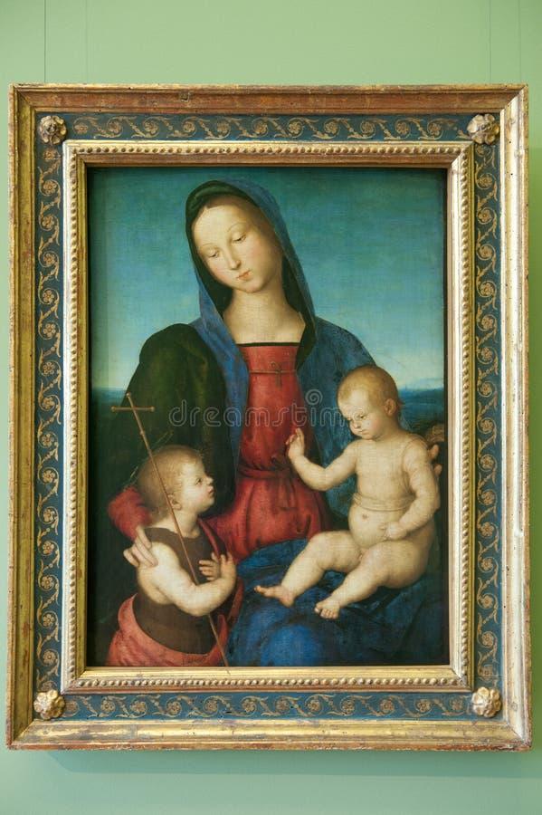 Raffael, il vergine e bambino di benedizione con la st John Diotallevi Madonna dell'infante immagine stock libera da diritti