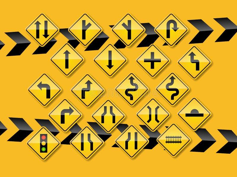 Raffic-Zeichen auf gelbem Hintergrund lizenzfreie abbildung