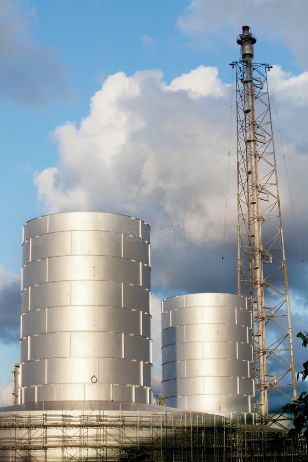 Raffinaderifabriksväxt i gods för tung bransch royaltyfri foto