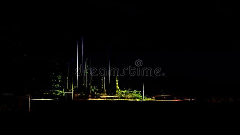 Raffineria di petrolio stilizzata di notte illustrazione vettoriale