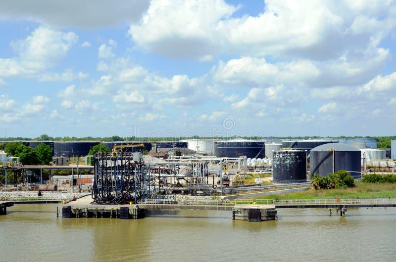 Raffinerie dans le port de Savannah, Géorgie image stock