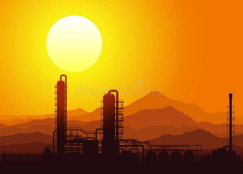 Raffinerie de pétrole au coucher du soleil. Illustration de vecteur. illustration stock