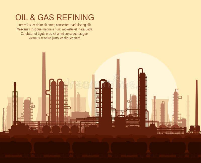 Raffinerie de pétrole et de gaz au coucher du soleil illustration stock