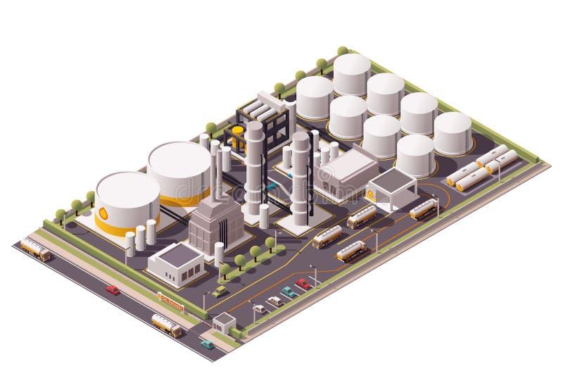 Raffinerie de pétrole isométrique de vecteur illustration de vecteur