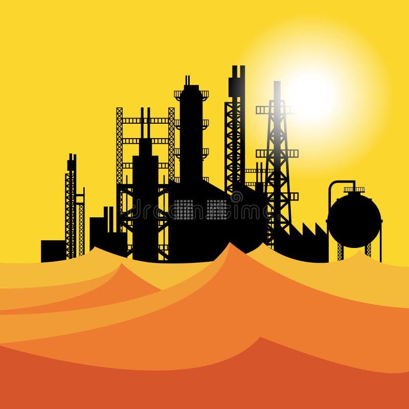 Raffinerie de pétrole ou usine chimique dans le désert au coucher du soleil illustration de vecteur