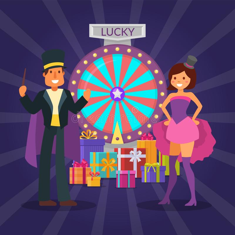 Raffle magician prizes vector illustration. Lucky win in wheel of fortune. Festively dressed hosts man and woman. Standing near gift boxes with presents for stock illustration