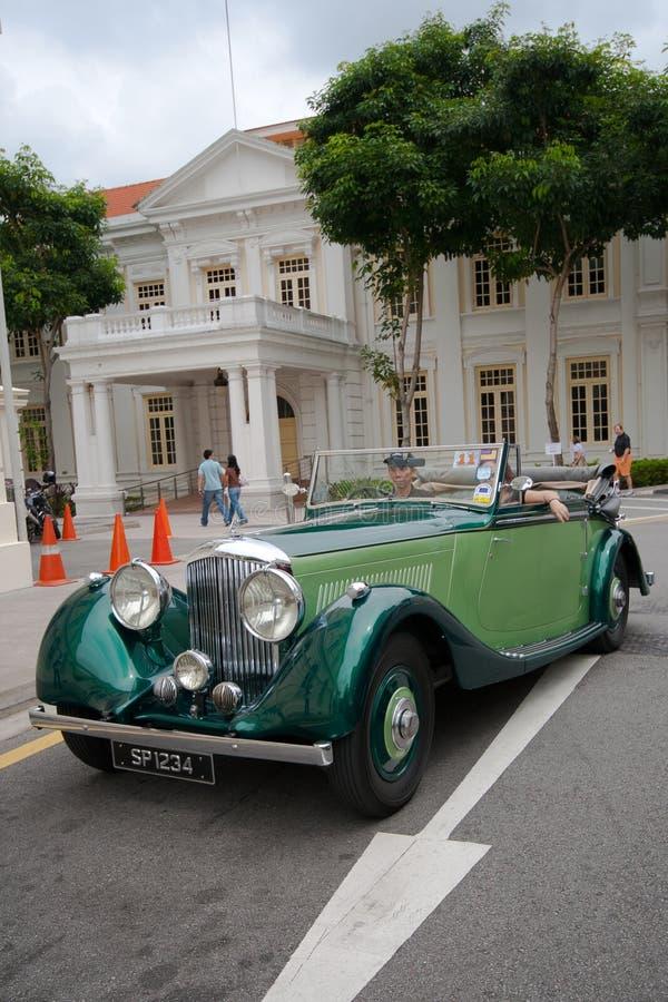 Raffles Landing Site, Singapore - July 27, 2008 : Vintage Bentley display in vintage car show royalty free stock photo