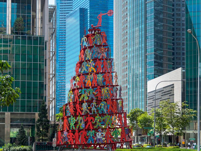 RAFFLES PLACE, SINGAPORE - 15 MAR 2019 – View of the Singapore Central Business District CBD stock image