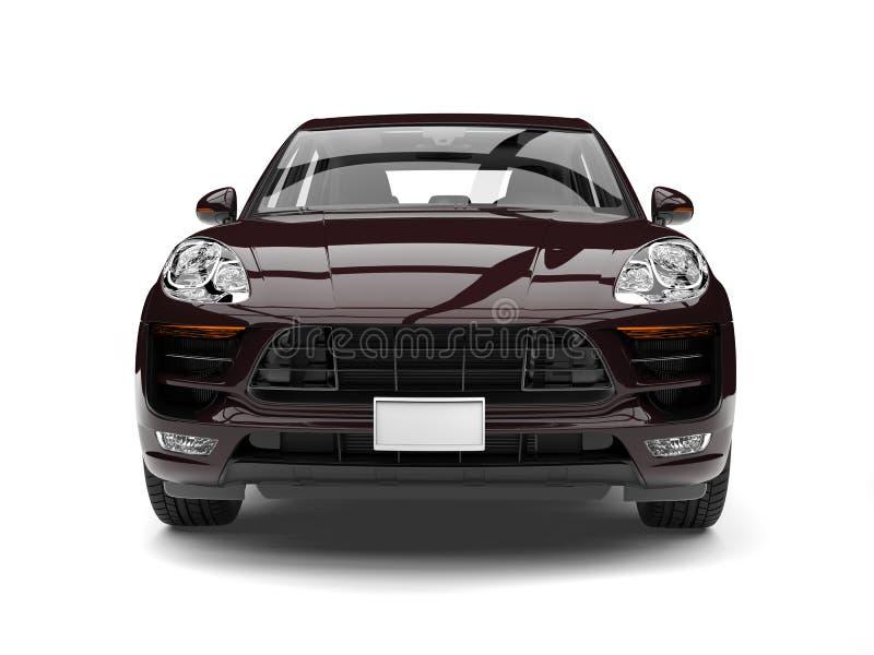 Raffreddi il marrone scuro SUV moderno - vista frontale illustrazione di stock