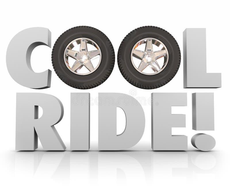 Raffreddi la ricreazione di divertimento di parole delle gomme 3d delle ruote di giro che conduce l'automobile Autom royalty illustrazione gratis