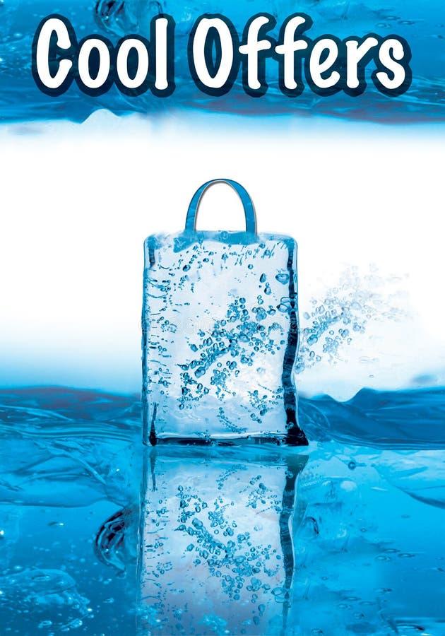Raffreddi le offerte per la vendita di inverno con effetto ghiacciato illustrazione vettoriale