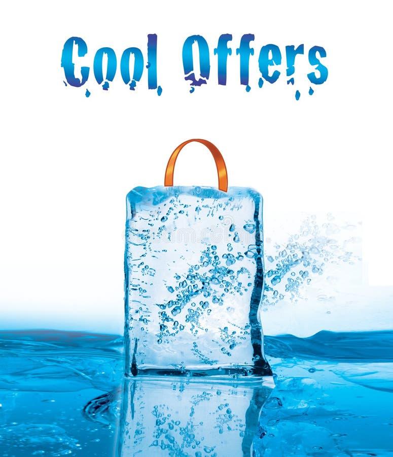Raffreddi le offerte per la vendita di inverno con effetto ghiacciato royalty illustrazione gratis