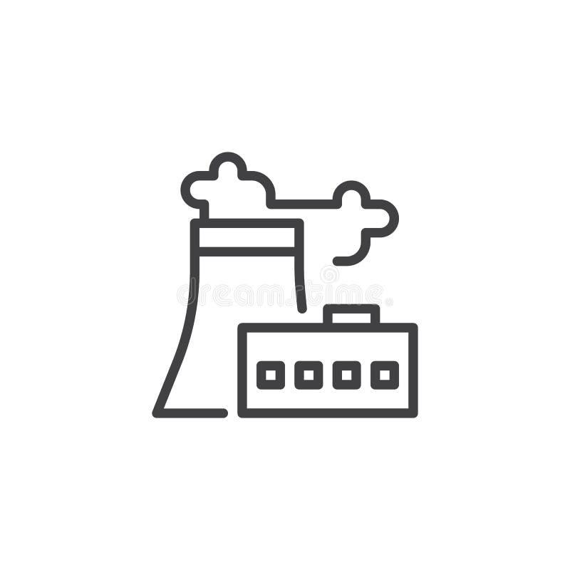 Rafineria ropy naftowej konturu fabryczna ikona ilustracja wektor