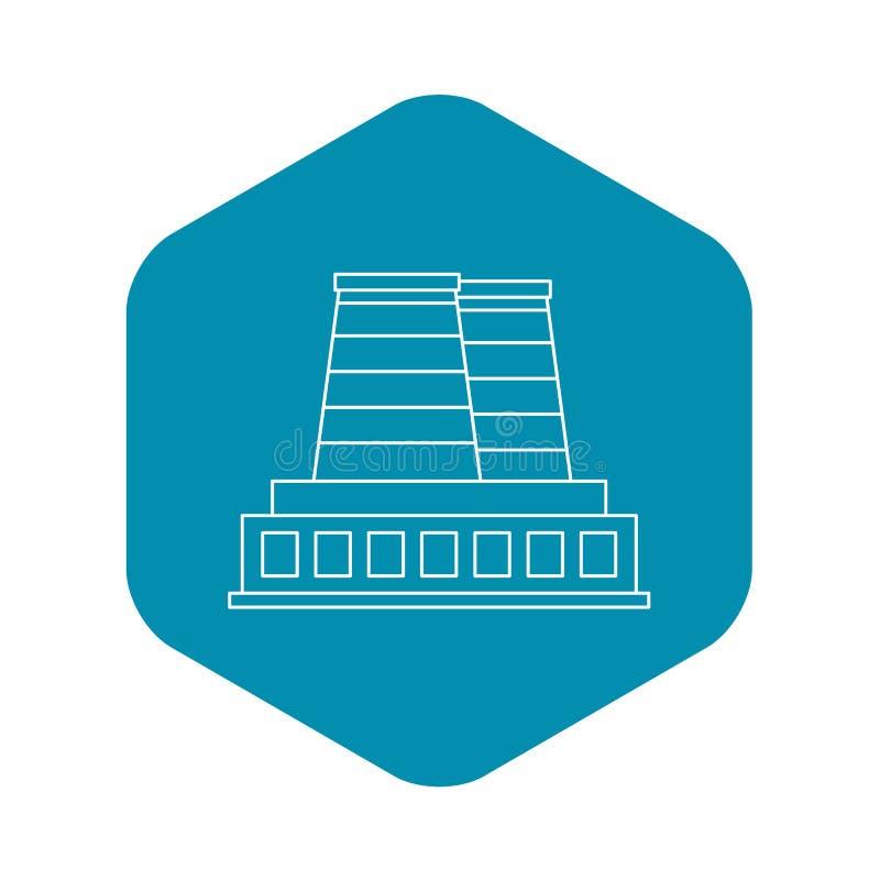 Rafinerii fabryczna ikona, konturu styl ilustracja wektor