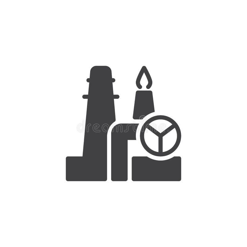Rafinerii ropy naftowej fabryczna wektorowa ikona