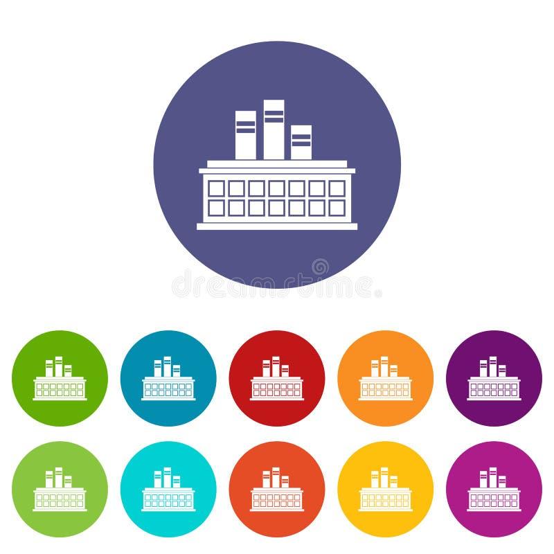 Rafinerii ropy naftowej rośliny ustalone ikony ilustracji