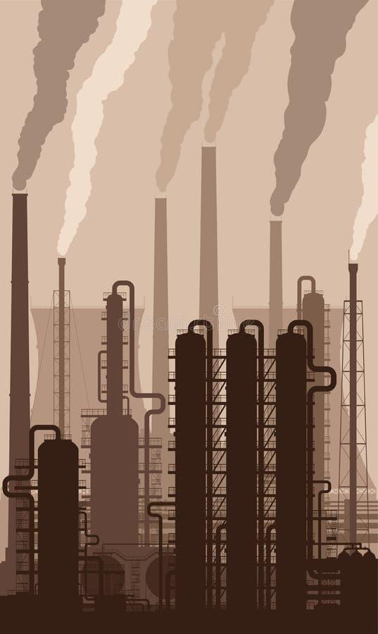 Rafinerii ropy naftowej sylwetka z dymienie kominami royalty ilustracja