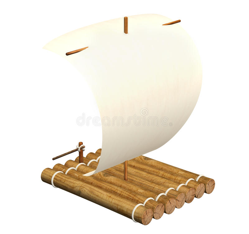 Raft. 3d self-made wooden raft with sail from a paper stock illustration