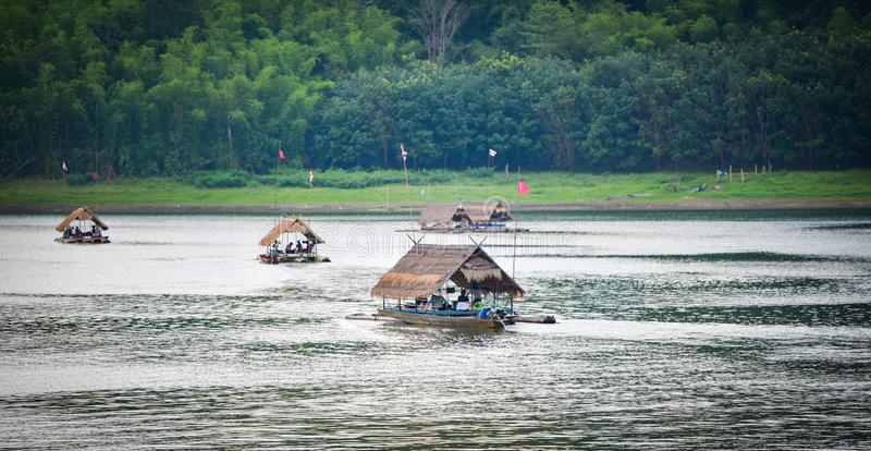 Raft Boat house on the lake of Thailand stock photos