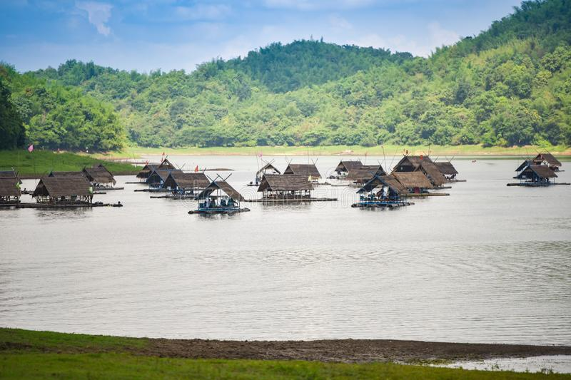 Raft Boat house on the lake of Thailand royalty free stock photography