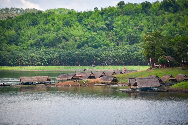 Raft Boat house on the lake of Thailand royalty free stock image