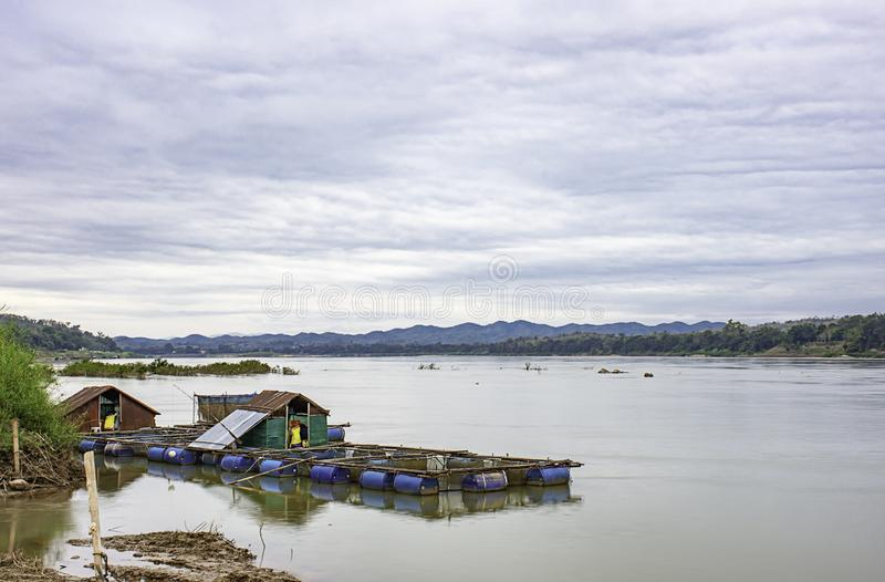 The raft floating fish farming and sky on the Mekong River at Loei in Thailand.  stock photography