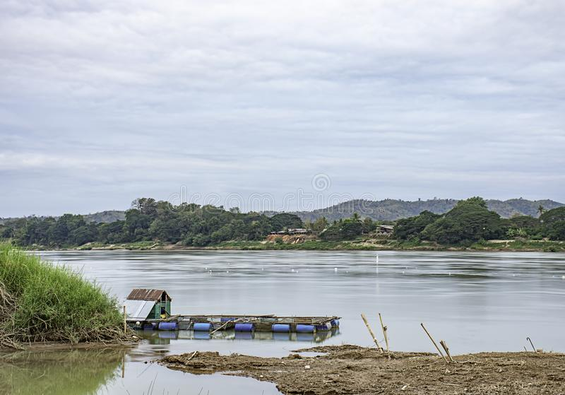 The raft floating fish farming and sky on the Mekong River at Loei in Thailand.  stock images