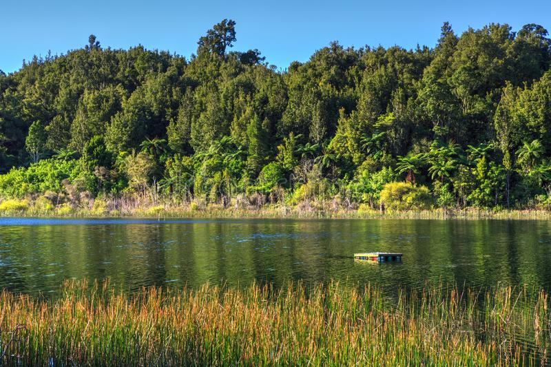 Lake Rotoma, New Zealand. Small raft floating on the water. A raft floats in the calm western arm of Lake Rotoma in the Rotorua Lakes district, NZ, between a sea stock image