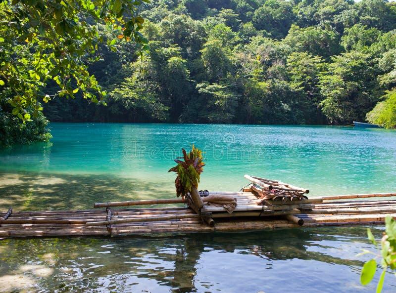 Raft på gruppen av den blåa lagunen, Jamaica royaltyfri fotografi
