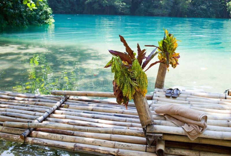 Raft på gruppen av den blåa lagunen, Jamaica arkivbilder