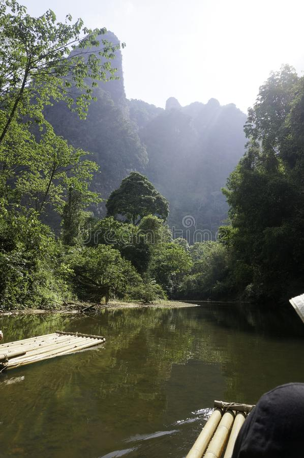 A raft on the river in the jungle. In thailand royalty free stock photos