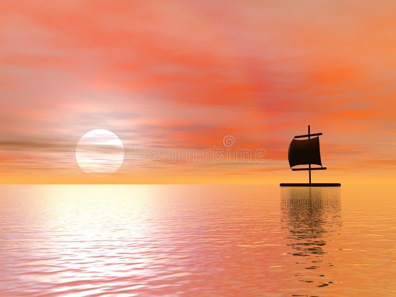 Raft vid solnedgång stock illustrationer