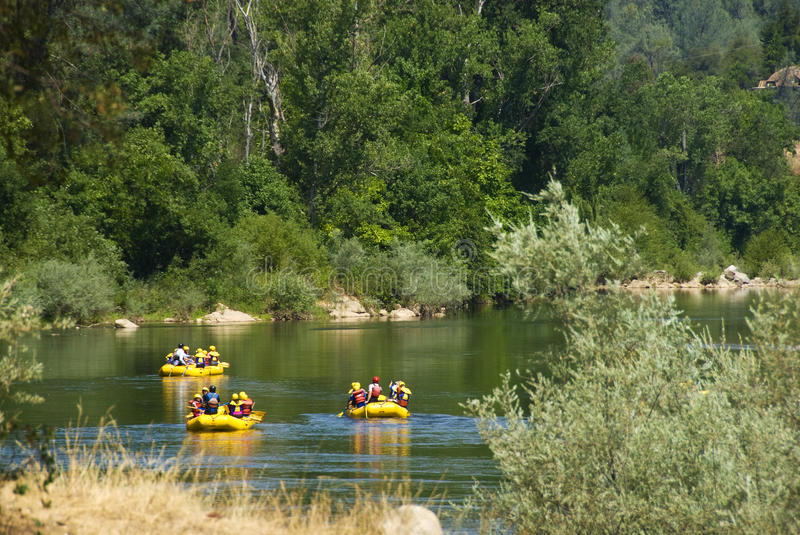 Rafters on the American River stock photography