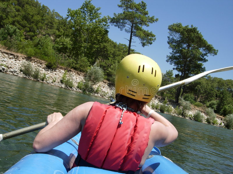 The rafting. By canoe on river, Turkey royalty free stock photos