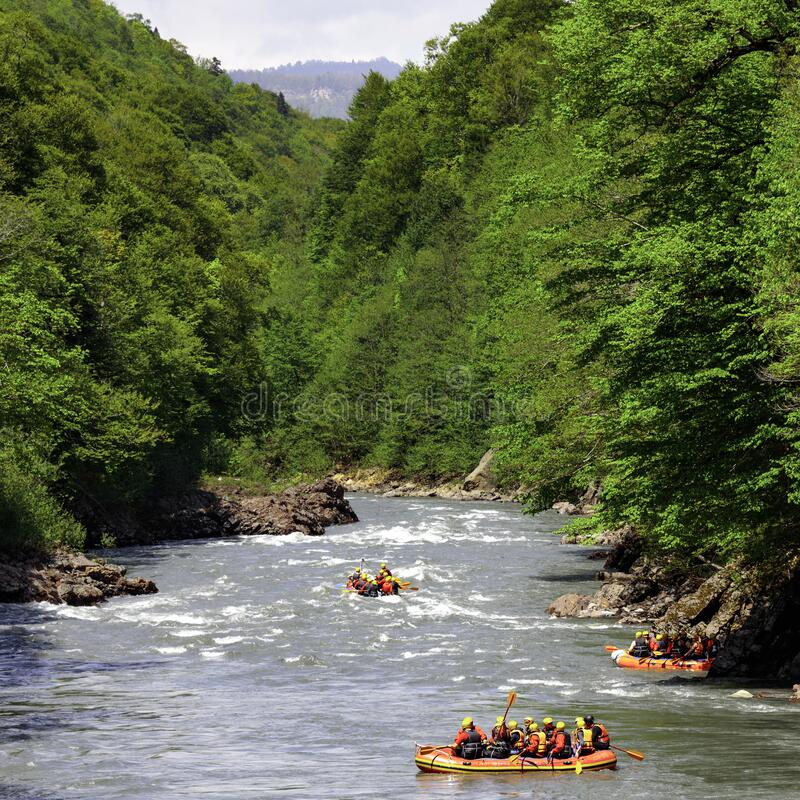 Rafting. Alloy on the mountain river. White river. Adygea, Russia. Rafting. Alloy on the mountain river. White river. Adygea Russia 02 05 2016 stock photos