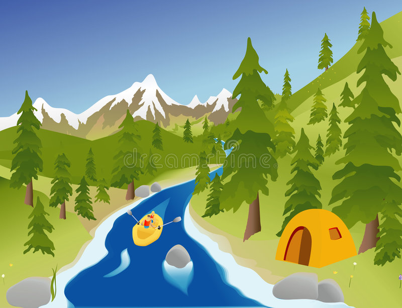 rafting av floden stock illustrationer