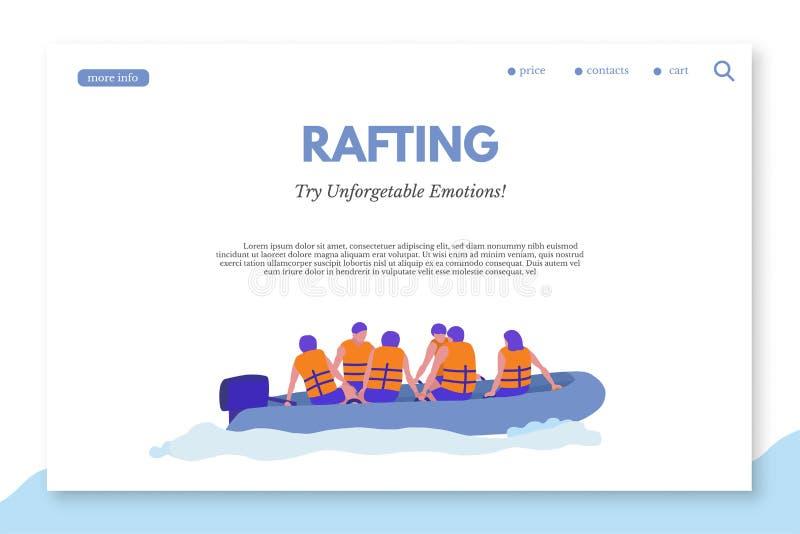Rafting av mallen för färglandningsida med copyspace vektor illustrationer