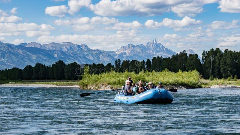 Rafting av Snaket River i Wyoming fotografering för bildbyråer
