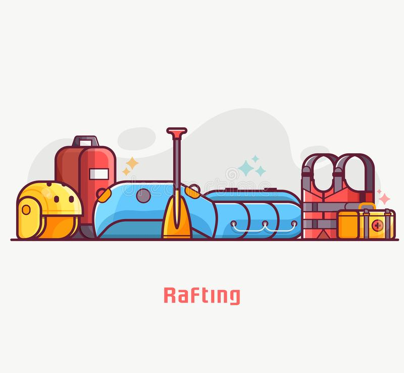 Rafting and Boating Lifestyle Equipment. Rafting lifestyle concept banner with water hike equipment and gear. River hiking or boating elements. Such as vector illustration