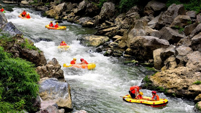 Rafting. China Guizhou Guiyang, close to where there is a deep quiet of the Grand Canyon, the name South River Grand Canyon, mountainous Emerald, beautiful, and stock photography