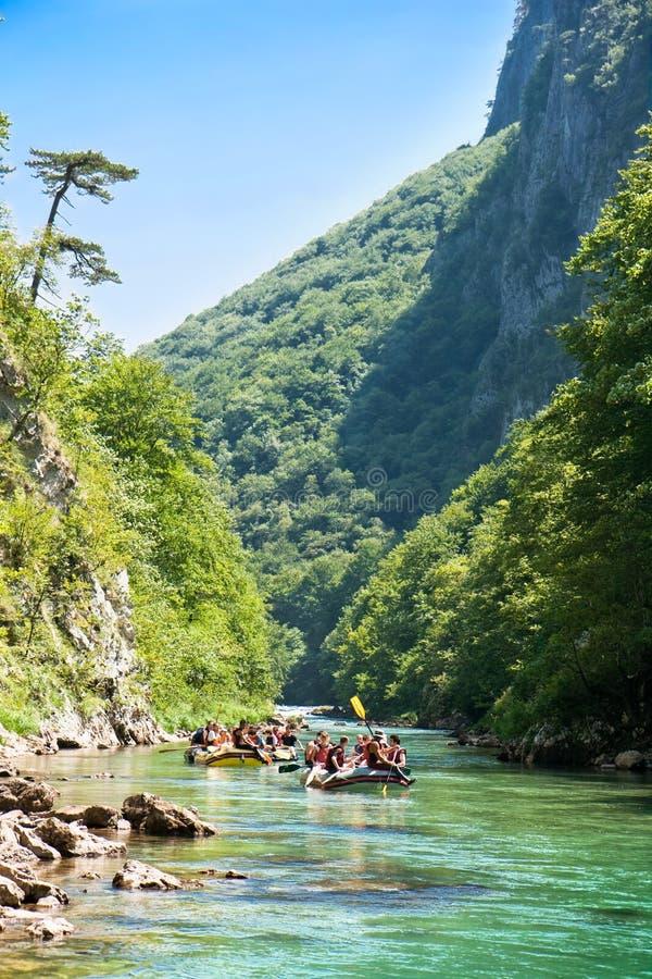Rafting in de canion van Rivier Neretva royalty-vrije stock fotografie