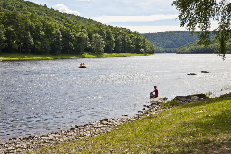 Rafting on Delaware river. On a summer sunny day royalty free stock images