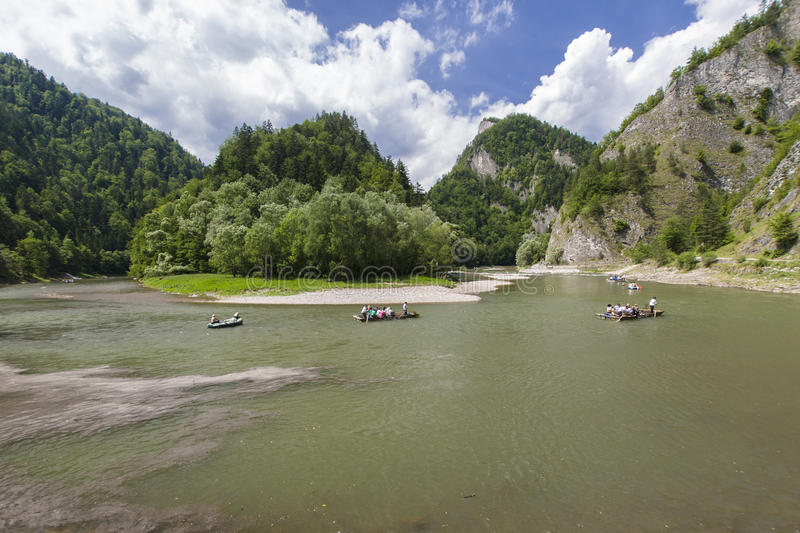 Rafting on Dunajec River. The Dunajec Gorge through the Pieniny Mountains royalty free stock photography