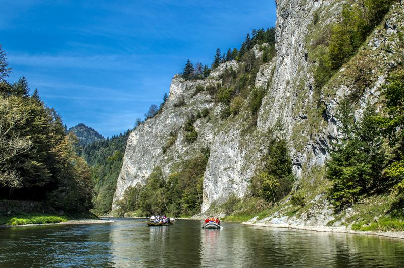 Rafting on Dunajec River in Pieniny Mountains stock image