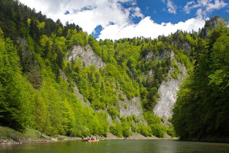 Rafting on the Dunajec river. In Pieniny National Park in Slovakia royalty free stock image