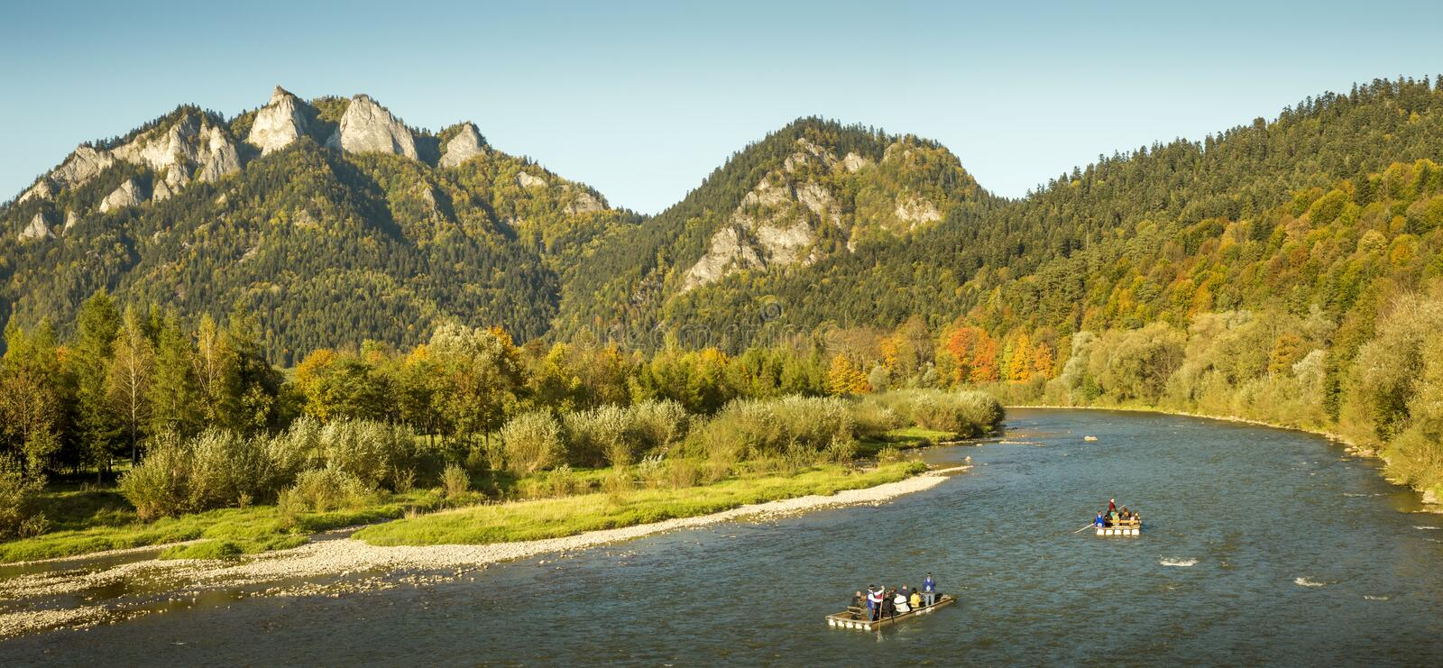 Rafting on Dunajec river with view on Three Crowns royalty free stock images