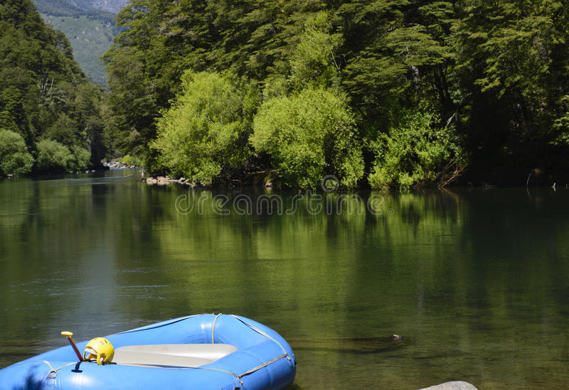 Rafting Equipment. Rafting team for white water activities, Manso River, Patagonia, Argentina royalty free stock photos