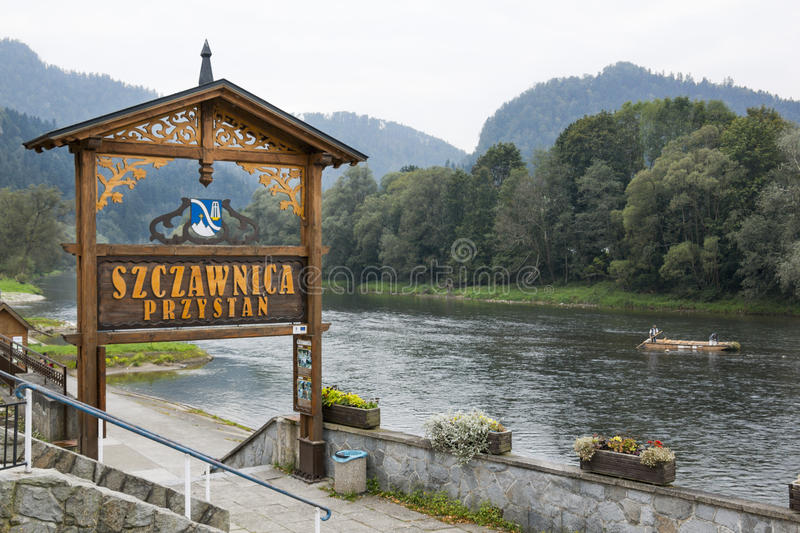 Rafting harbor in Szczawnica, Poland. Rafting marina on the Dunajec river in Szczawnica stock photos